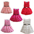 Girls Bridesmaid Formal Pageant Party Dress Communion Rose Print Gown Belt 2-7Y