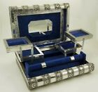 Large Indian Style Silver Embossed Metal Locking Jewellery Box 11 x 8 inches.
