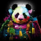 Panda Bear Emperor Suit Colour Abstract WALL ART CANVAS FRAMED OR POSTER PRINT