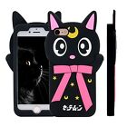 iPhone 6/6 Plus/7&7 Plus Cute 3D Sailor Moon Crystal Luna Cat Soft Silicone Case