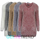 WOMENS FAUX FUR LONG SLEEVED JUMPER LADIES FURRY FLUFFY JUMPER DRESS TOP