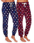 Ladies Polka Dot Pyjama Bottoms New Womens PJ Fleece Lounge Pants Sizes UK 8-22