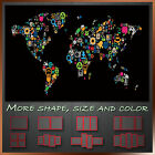 Abstract Map of World Icons Modern Framed Art Canvas Print Deco ~ More Sizes