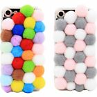 iPhone 7 & 7 Plus Handmade DIY Colorful Plush Pompons Fall Winter Phone Case