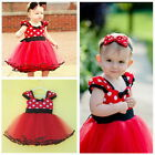 2PCS Baby Girls Minnie Dots Party Dress Princess Birthday Gift + Headband 3-20M