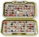 GSV Fly Box + Trout Fishing Flies Dry, Wet, Nymph, Buzzers in hooks 10, 12 or 14