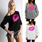 Casual Women's Lip Print Hoodie Long Sleeve T-shirt Sweatshirt Pullover Top New