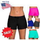 Women's Full Coverage Swim Shorts Solid Color Drawstring Swimwear Stretchy S-3XL