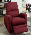 NEW CUNAN RED CARMINE or NAVY BLUE LINEN FABRIC SWIVEL RECLINER ACCENT CHAIR