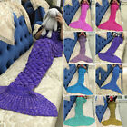 Adults Fish Scale Pattern Mermaid Tail Crocheted Sofa Knit Lapghan Blanket Gift