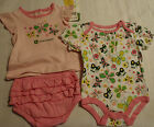 John Deere 3 Month Short Sleeve Bodysuit Pink Shirt Ruffled Bloomer Outfit NWT