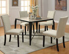 NEW 5PC MATANA ANTIQUE LIGHT OAK WOOD BLACK FINISH METAL DINING TABLE SET