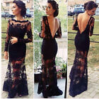 Long Lace Black Mermaid Evening Formal Party Cocktail Bridesmaid Prom Gown Dress