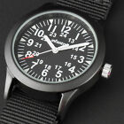 INFANTRY Mens Quartz Wrist Watch Luminous Sport Army Military Black /Green Nylon