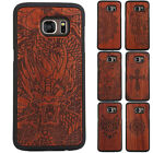 Genuine Carved Wood Wooden Slim + PC Back Case Cover For Samsung Galaxy S7 G930