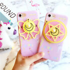 Cartoon cute Pink Sailor Moon mirror strap soft case cover for iphone 7 6S plus