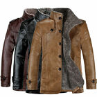 Winter Mens Warm Jacket PU Leather Coat Fur Parka Fleece Jacket Slim Coat Tops