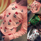 Womens Cotton Long Sleeve Tops Sweatshirt Pullover T Shirt Ladies Loose Blose