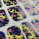 Chrome CHIX NAILS Pink Yellow Purple Silver Bows Vinyl Nail Wraps Fingers Toes
