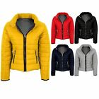Womens Elastic Sides Quilted Padded Popper Collar Warm Lined Puffer Zipper Coat