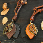 Men And Women Necklace Retro Fashion Leather Leaf  Sweater Chain