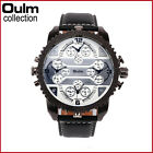 OULM Men's Watches Stainless Steel Leather Band Casual Quartz Wristwatch