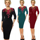 Womens cute Elegant embroidery Floral neck office work wear Cocktail party dress