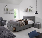 MARVIN Queen & King Fabric Upholstered Bed frame with 4 Storage Drawers - Grey