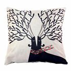 "Christmas Deer Cotton Linen Decorative Pillow Cushion Cover 18""x 18"" (NO INSERT) image"