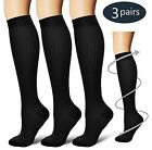 (3 Pairs) S-XXXL Compression Socks Knee High 20-30mmHg Graduated Mens Womens For Sale