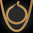 Classical Gold Plated 6mm Cuban Curb Chain Necklace Bracelet Set Jewelry for Men