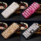 Diamonds Pearls Flip Cover Stand Wallet Leather Case For iPhone & Samsung