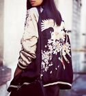 Bloggers Heavy Embroidered Oriental Floral Bird Reversible Satin Bomber Jacket