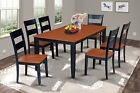 SUNDERLAND DINING ROOM TABLE SET WITH WOOD SEAT CHAIRS IN BLACK & CHERRY