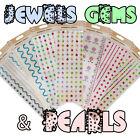 Self Adhesive - Gems Jewels & Pearls - Stick-On Rhinestone Embellishments  Cards