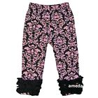 Girls Pink Damask Black Ruffle Icing Leggings