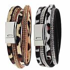 Unisex Doublelayer Leather Leopard Rhinestone Buckle Wristband Charm Bracelet