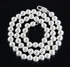 """¦Solid 925 Sterling Sterling 8MM Ball Beads Italy Necklace Size 16"""",18"""",20""""»C28"""