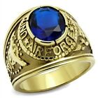 Men's New Stainless Steel Gold IP US Air Force Military Blue Oval Ring Size 8-14
