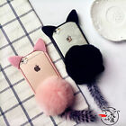 3D New Cute Cartoon Pink Cat Ears Furry Furball Case Cover for iPhone 7/7 Plus