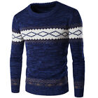 Men's Luxury Crew Neck Floral Chunky Cable Knitted Sweater Jumper Top Pullpover