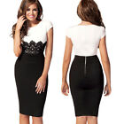 Womens Celeb Lace Contrast Evening Wedding Pencil Bodycon Dresses Midi