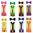 Set Of Kids Toddler Children Boys Plain Elastic Suspender & Bow Tie