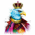 Eagle Wears Crown Falcon Abstract Colours WALL ART CANVAS FRAMED OR POSTER PRINT