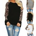 Fashion Womens Leopard Print Tops Casual Long Sleeve T-shirt Loose Cotton Blouse