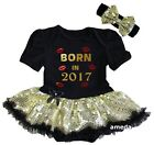Baby Born In 2017 Black Gold Sequin Bodysuit Tutu Dress