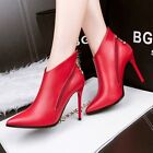 European Style Sexy Two Side Zip Pointed Toe High Heel Ankle Boot PU Women Shoes