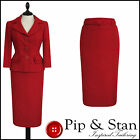 NEW NEXT UK10/8 US6/4 POPPY RED 50S VINTAGE STYLE PENCIL SKIRT SUIT WOMENS SIZE