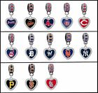 MLB CRYSTAL HEART CHARM FITS LARGE HOLE EUROPEAN STYLE BRACELETS