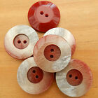 5 beautiful red marble effect dimple buttons  17mm 23mm or 28mm